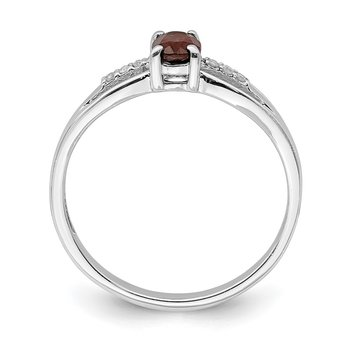 Sterling Silver Rhod-plated Diamond Garnet Ring