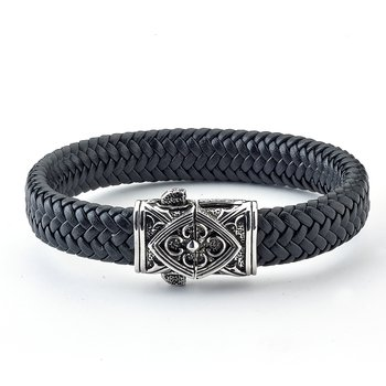 Floral Filigree Leather Bracelet