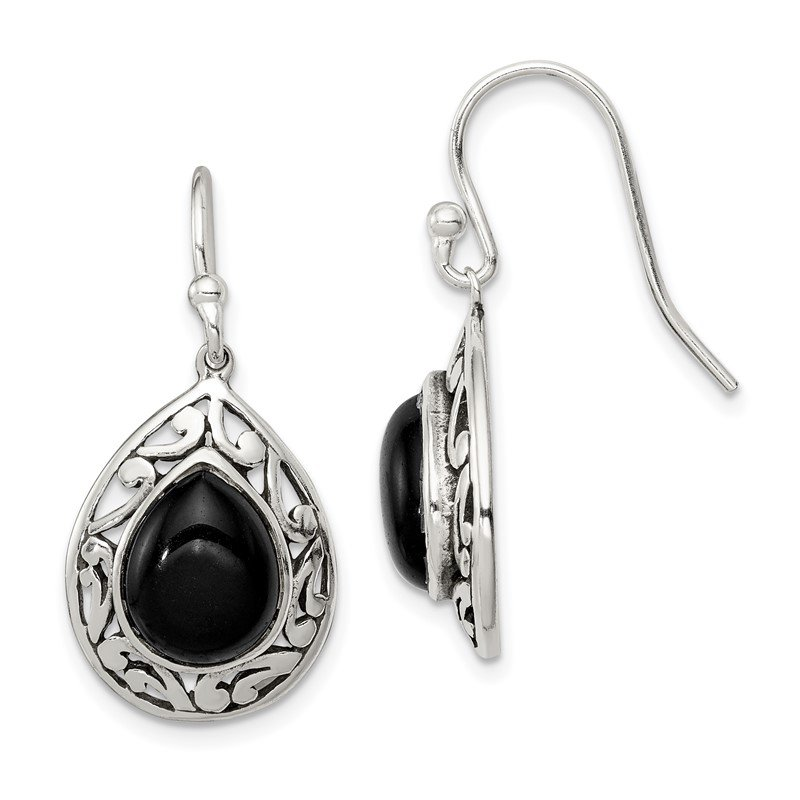 Quality Gold Sterling Silver Onyx Antiqued Shepherd Hook Earrings