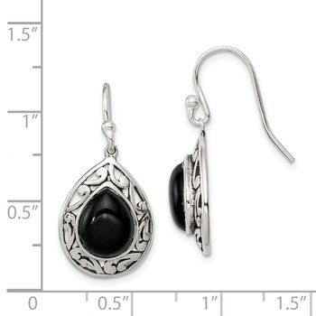 Sterling Silver Onyx Antiqued Shepherd Hook Earrings
