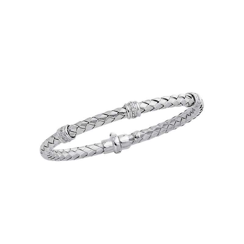 Royal Chain 14K Gold .24ct Diamond Station Woven Bangle