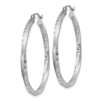 Sterling Silver RH-plated Satin Diamond-cut 2.5x35mm Twisted Hoop Earrings