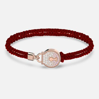 Togetherness Lock Bracelet, Red, Rose-gold tone plated