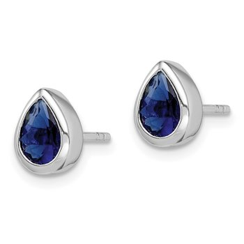 Sterling Silver Rhodium Plated Blue CZ Post Earrings