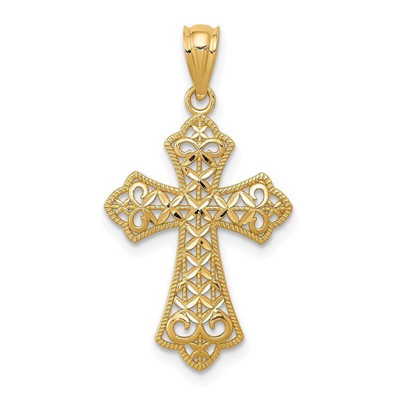 Quality Gold 14k Polished Filigree Cross Pendant