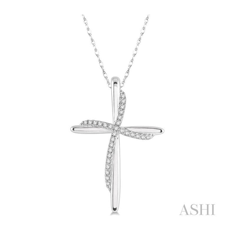 ASHI diamond cross pendant