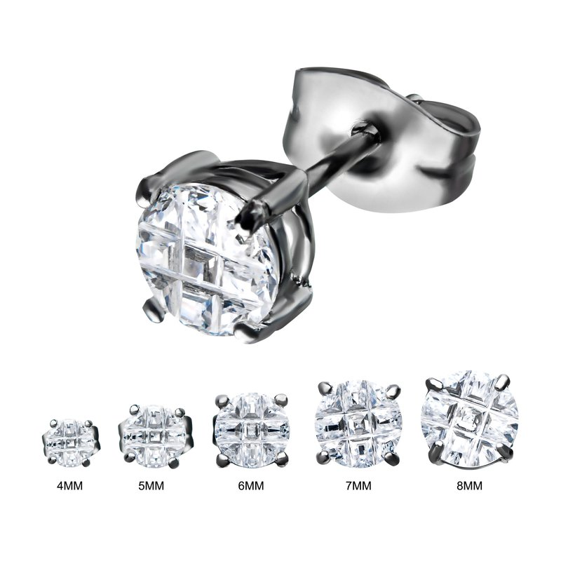 INOX Stainless Steel with Hashtag CZ Round Cut Stud Earrings