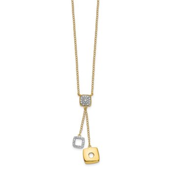 14k Diamond Circles 18 inch Dangle Necklace