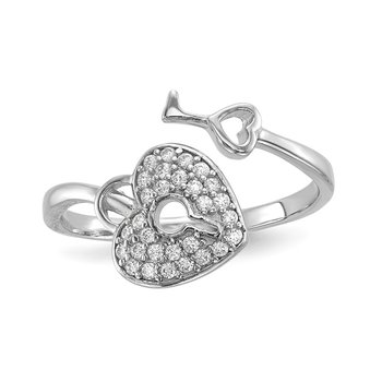 Sterling Silver Rhodium-plated CZ Heart Lock and Key Ring