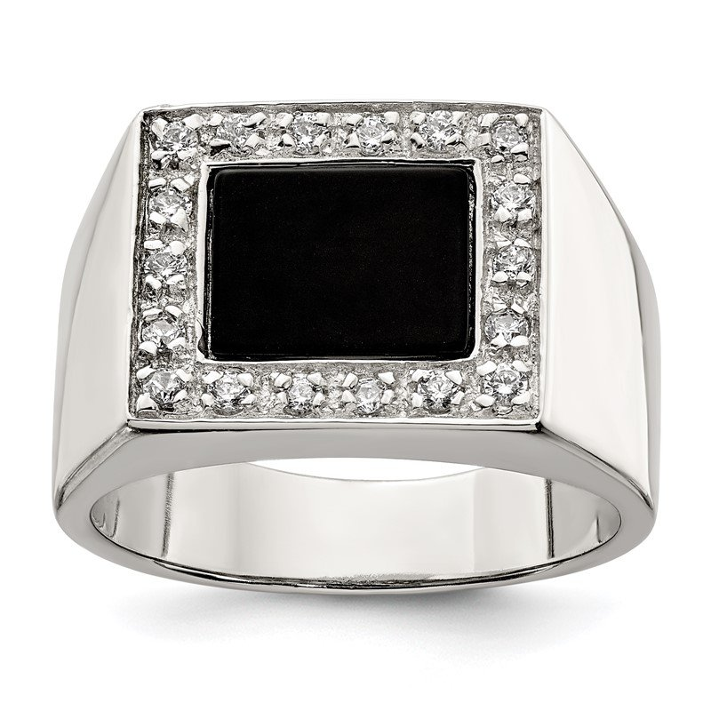 Quality Gold Sterling Silver Rhodium-plated Men's CZ & Onyx Ring
