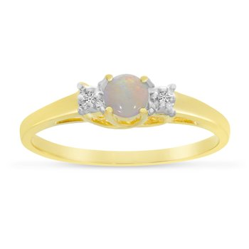 10k Yellow Gold Round Opal And Diamond Ring