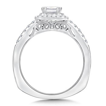 Princess cut double halo mounting  .28 ct. tw.,  1/2 ct. princess center.