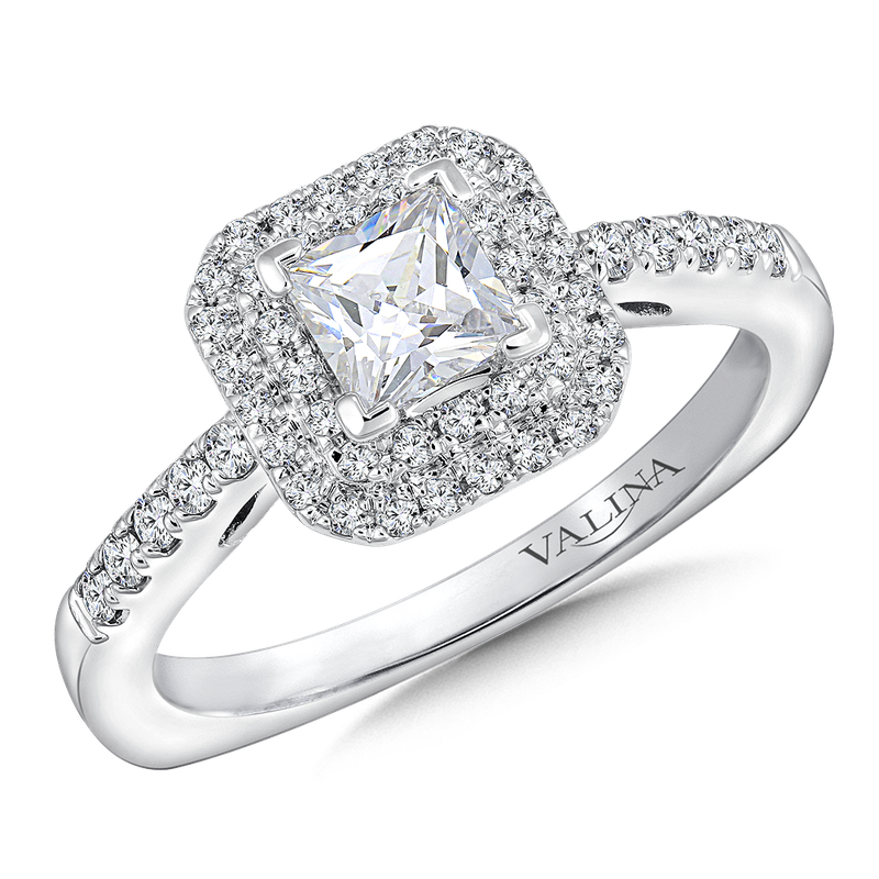 Valina Princess cut double halo mounting  .28 ct. tw.,  1/2 ct. princess center.