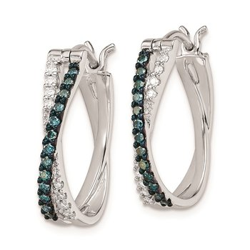 Sterling Silver Rhod Plated Hoop White & Blue Diamond Hinged Earrings