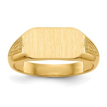 14k Signet Ring Solid Back