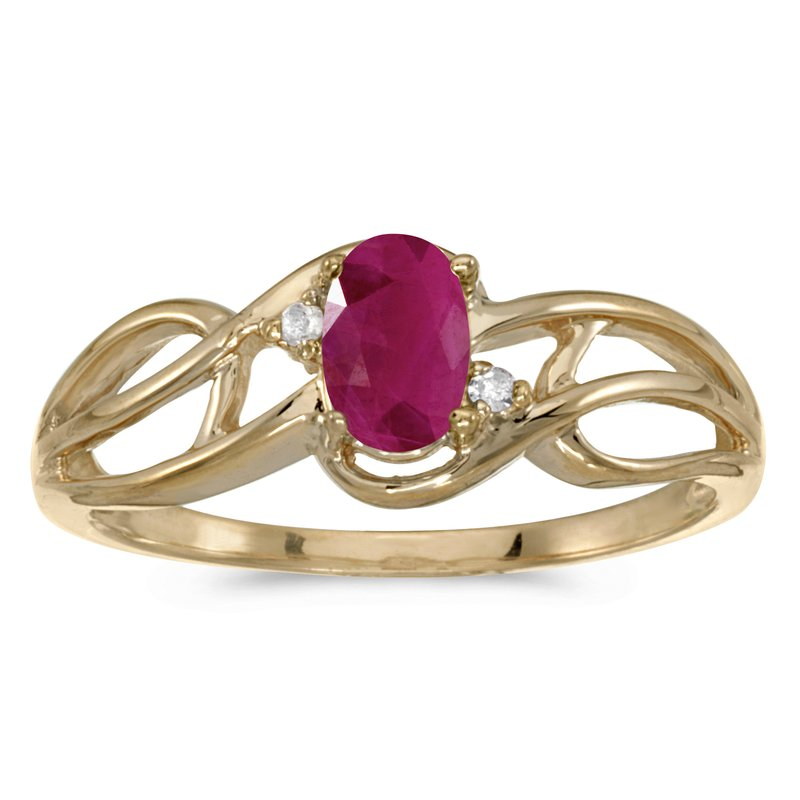 10k Yellow Gold Oval Ruby And Diamond Curve Ring