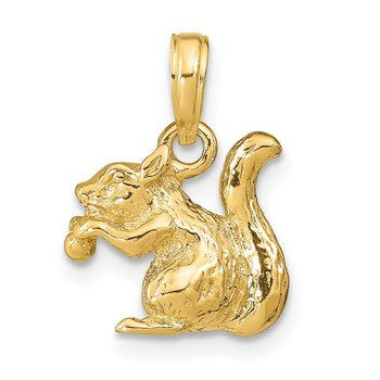 14k Solid 3-D Squirrel with Nut Charm