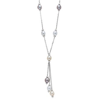Silver Fresh Water Pearl Necklace 22""
