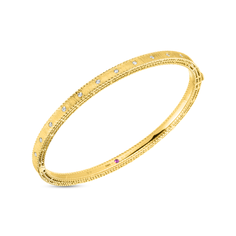 Roberto Coin  #28458 Of 18Kt Gold Princess Bangle With Diamonds