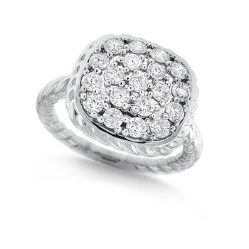 Large Diamond Cushion Ring in 14k White Gold with 19 Diamonds weighing 1.00ct tw.