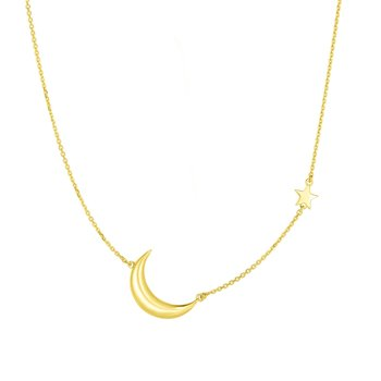 14K Gold Moon Necklace