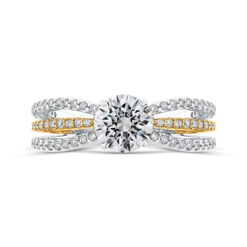 18K Two Tone Gold Round Diamond Engagement Ring with Split Shank (Semi-Mount)
