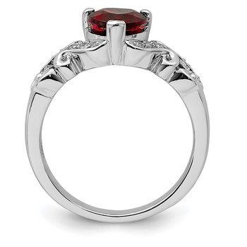 Sterling Silver Rhodium-plated Diamond and Garnet Ring