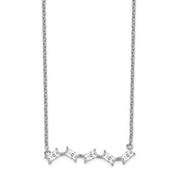 Cheryl M Sterling Silver Polished Emerald-cut CZ Bar Necklace