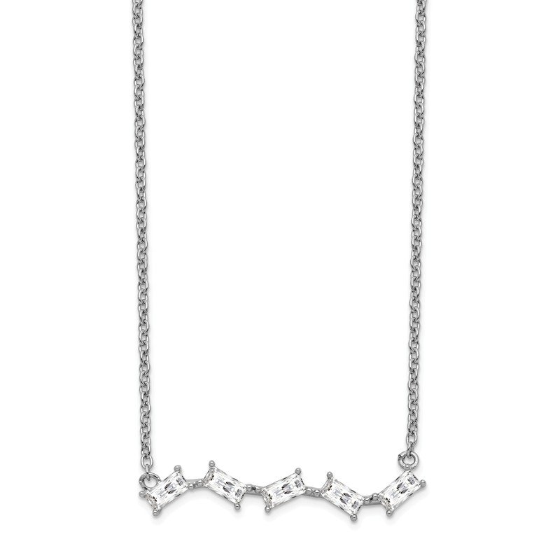 Cheryl M Cheryl M SS Rhodium Plated Polished Emerald-cut CZ Bar 18in Necklace