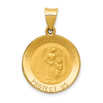 14k Guardian Angel Medal Hollow Pendant