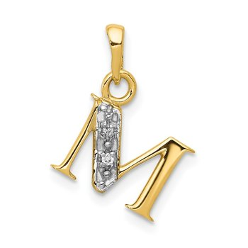 14KY with Rhodium Diamond Letter M Initial Pendant