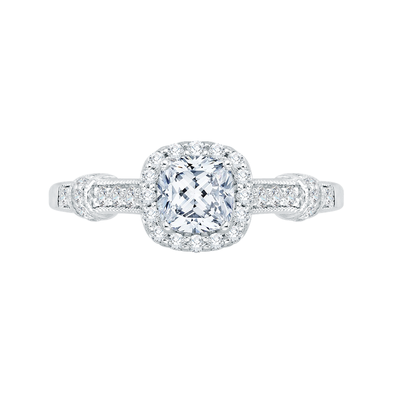 Promezza Cushion Cut Halo Diamond Engagement Ring In 14K White Gold