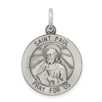 Sterling Silver Antiqued Saint Paul Medal