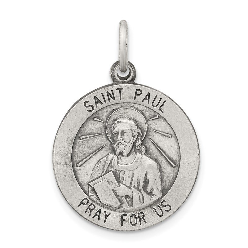 Quality Gold Sterling Silver Antiqued Saint Paul Medal