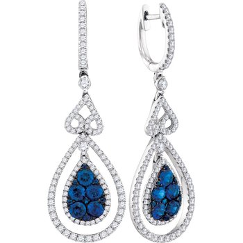 14kt White Gold Womens Round Blue Sapphire Teardrop Diamond Dangle Earrings 1-5/8 Cttw