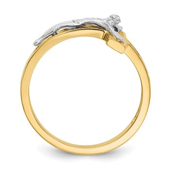 14k Two-tone Polished Crucifix Ring