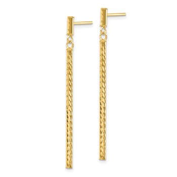 14k Polished and Diamond-cut Bar Dangle Post Earrings