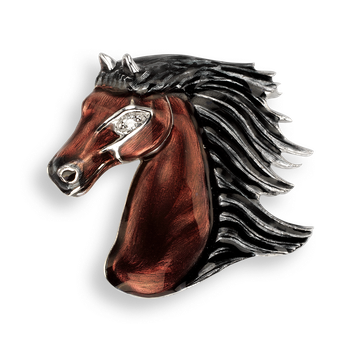 Sterling Silver Brooch-Horse-Brown-Diamond