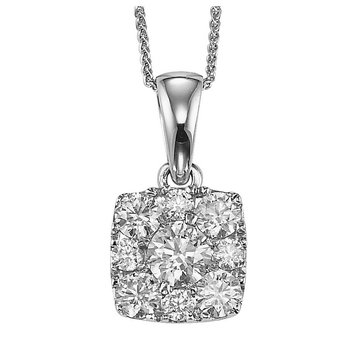 14K Diamond Pendant 1/4 ctw Cushion Shape