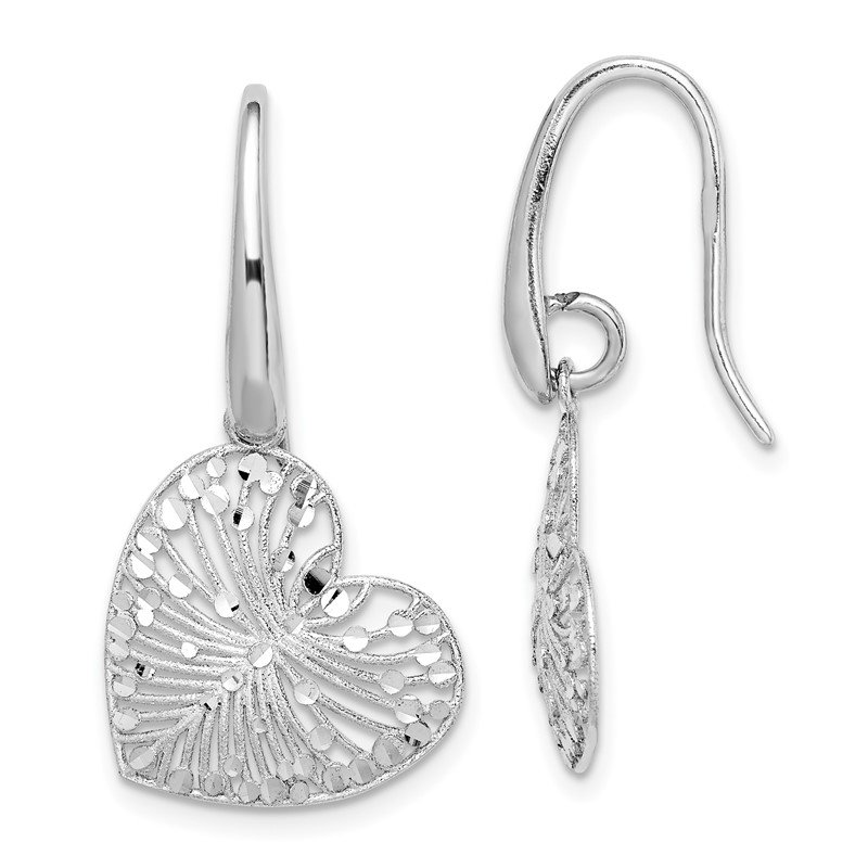 Quality Gold Sterling Silver Rhodium-plated Brushed/Polished D/C Heart Dangle Earrings