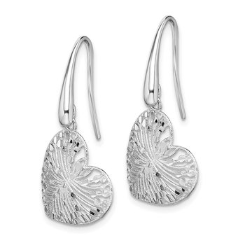 Sterling Silver Rhodium-plated Brushed/Polished D/C Heart Dangle Earrings