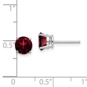 14k White Gold 6mm Garnet Earrings