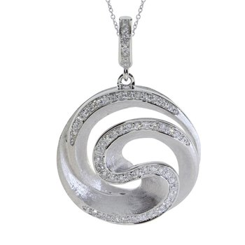 14K White Gold Diamond Swirl Fashion Pendant