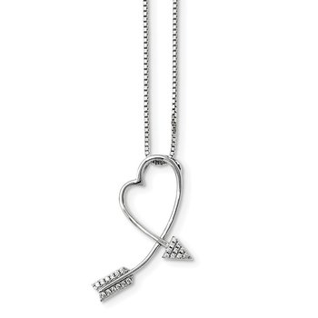 Sterling Silver Brilliant Embers Rhodium-plated CZ Arrow Heart Necklace