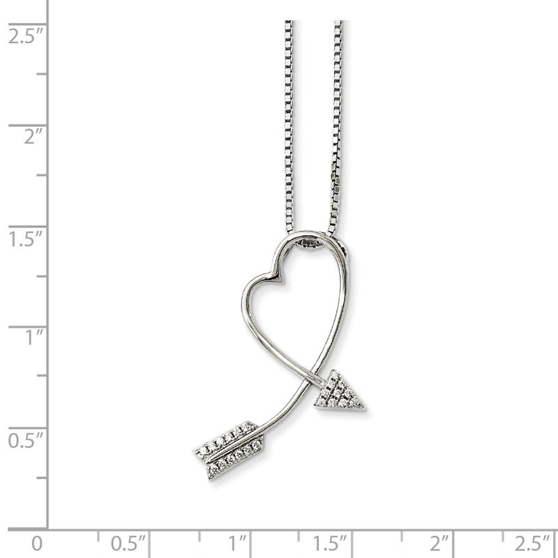 Quality Gold Sterling Silver Brilliant Embers Rhodium-plated CZ Arrow Heart Necklace