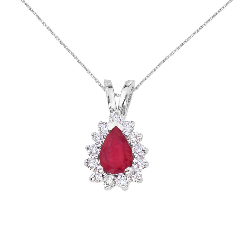 Color Merchants 14k White Gold 6x4 mm Pear Shaped Ruby and Diamond Pendant