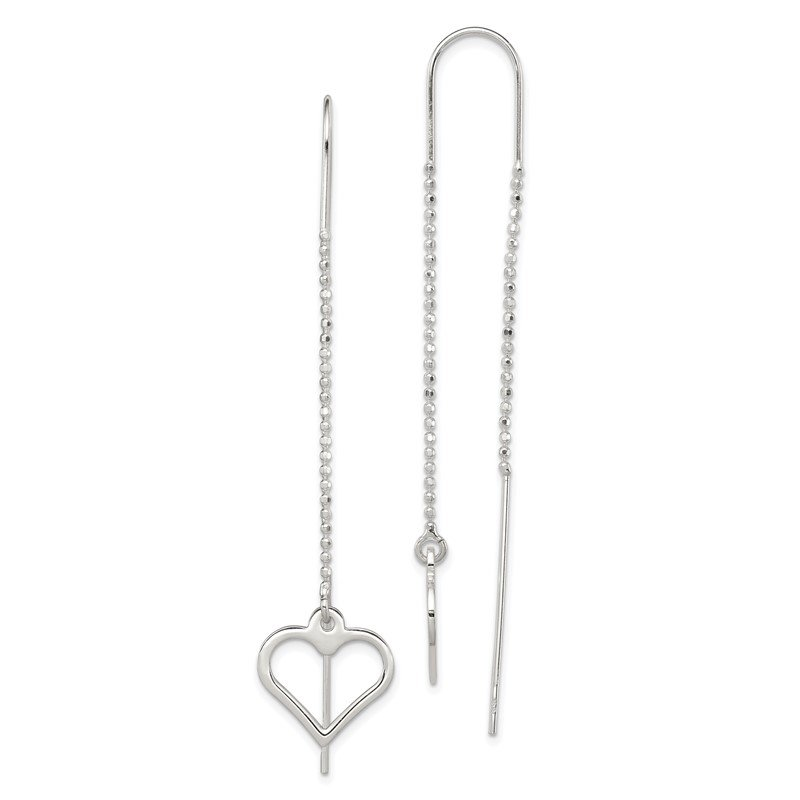 JC Sipe Essentials Sterling Silver Heart Threader Earrings