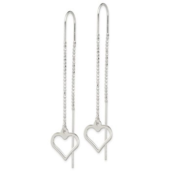 Sterling Silver Heart Threader Earrings