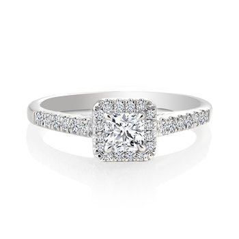 Classic Ideal Square Diamond Halo Engagement Ring with Pavé Set Diamonds