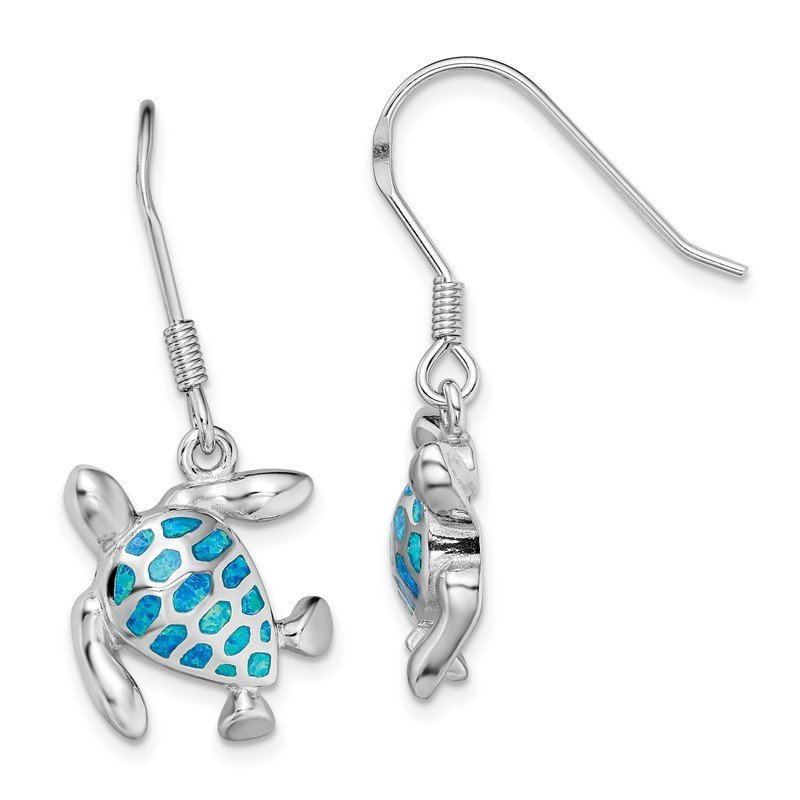Quality Gold Sterling Silver Rhodium-plated Blue Created Opal Turtle Earrings